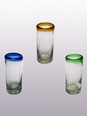 SPIRAL GLASSWARE / 'Blue and Green and Amber Rim' Tequila shot glasses (set of 6)